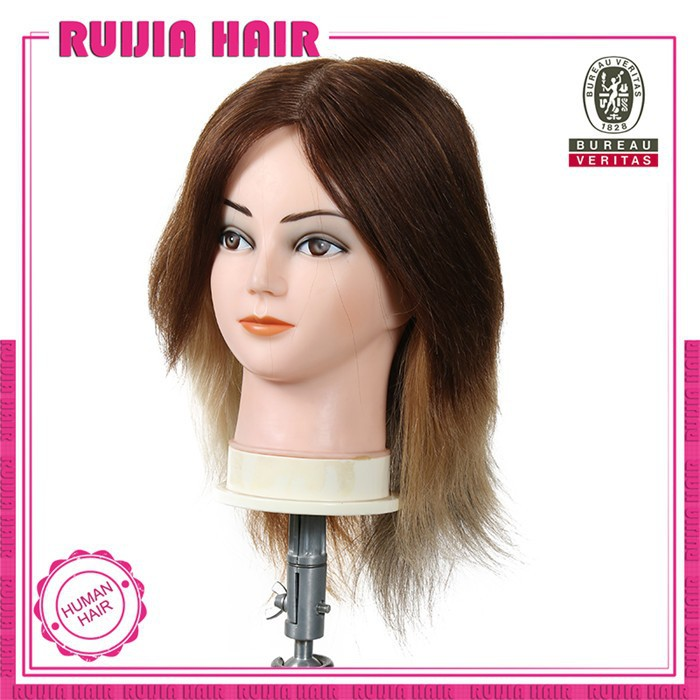 RUIJIA factory wholesale 100 % human hair training heads salon hairdressing training head