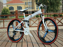 alibaba 26 inch foldable 3 spokes integrated wheels 21 speed folding mountain bike/bicycle