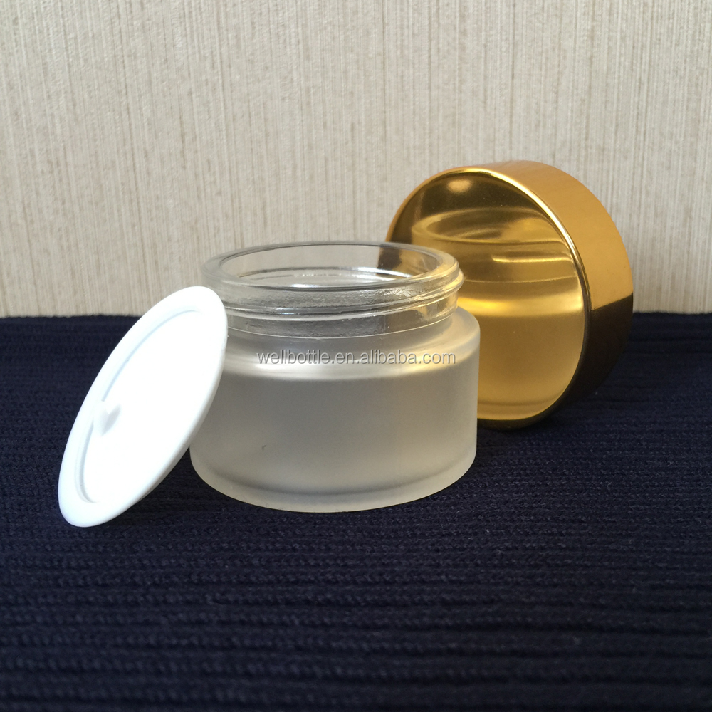 luxury 200ml frosted cosmetic glass cream jar with plastic cap GJ069R