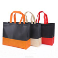 Two tone candy color ultrasonic non woven grocery shopping bag with lamination