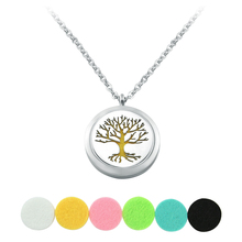 Life Tree Leaves Essential Oil Diffuser Pendants Necklaces Felt Pad Perfume Choker Necklace