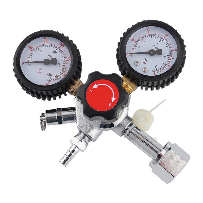 W21.8 CO2 Dual Gauge Regulator with Y splier and two Checkvalve, Homebrew CO2 Regulator, 0~3000psi, 0~60psi