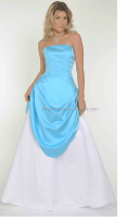 New fashion blue and white color combination evening dress pretty princess dress