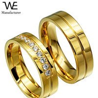 Stainless Steel Fashion 18K Gold Couple Wedding Ring
