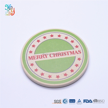 Merry christmas design water absorbent ceramic coaster round coffee cup mat