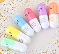 High Quality Mini Pill shaped highlighter pens for writing Cute face Graffiti marker pen Korean stationery school supplies