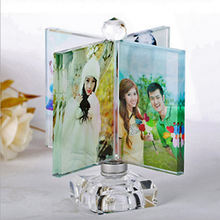 Personalized Crystal Wedding Souvenir and Birthday Gift Rotating Photo Frame