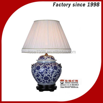 blue and white porcelain table lamp wood base blue and white porcelain. Black Bedroom Furniture Sets. Home Design Ideas