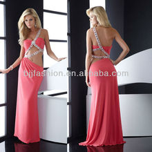 One-shoulder Beaded Backless Sexy Evening Dress 2012