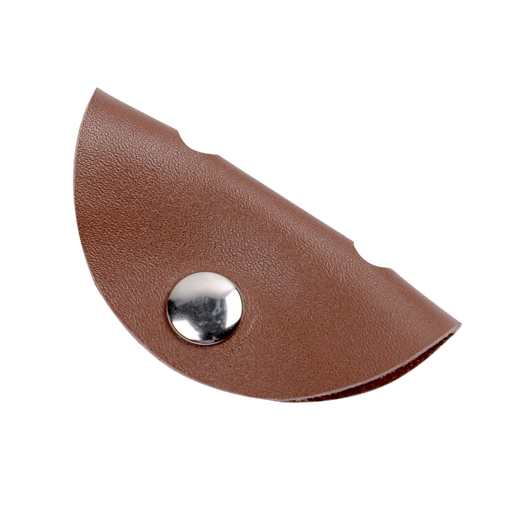 Round shape genuine leather earphone earbud holder cable