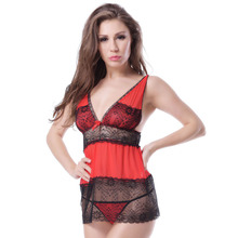 Wholesales multicolor lace deep V-neck seyx babydoll