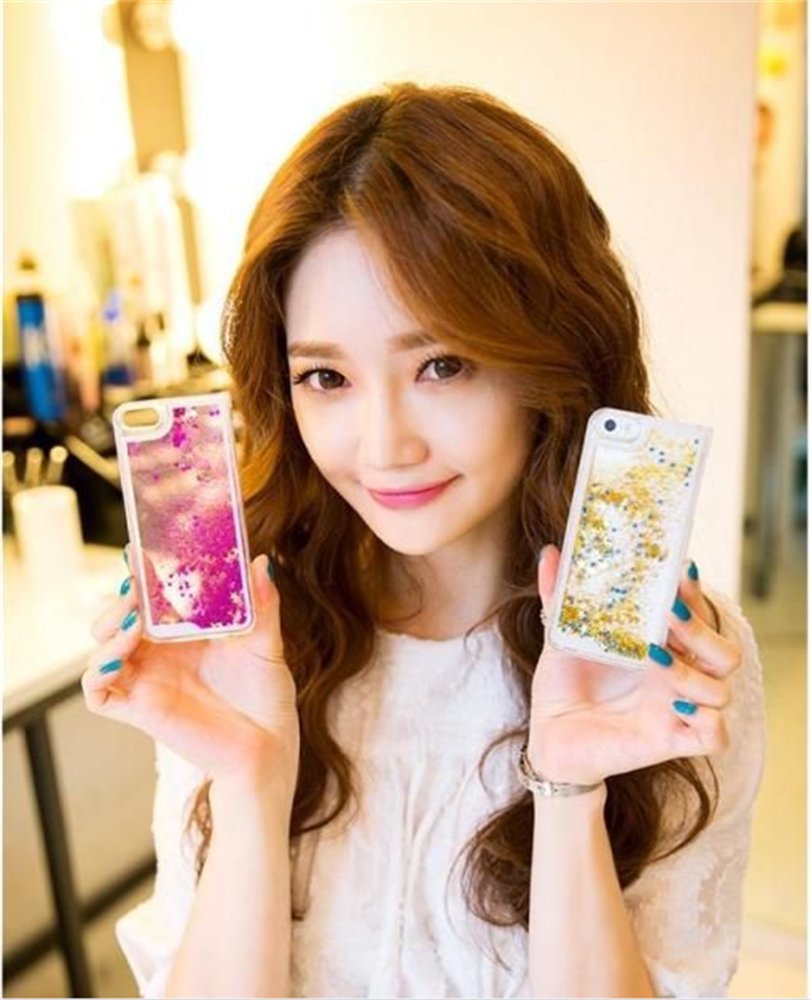 New product fashion quicksand bumper case with shiny stars for iphone5/6/6plus cover fit for samsung cell phones