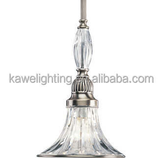 "Classic Silver 1 Light 7"" Wide Mini Pendant with Clear Ribbed Glass"