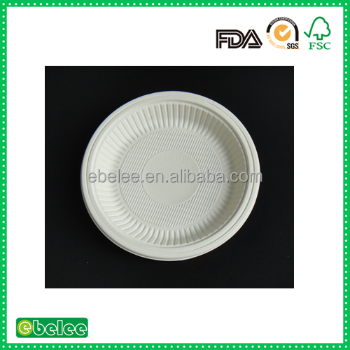 "6"" biodegradable corn starch round tableware food plate"