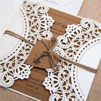 Handmade wedding invitations whiter wedding invitation card rustic wedding invitation designs