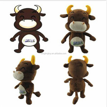2016 Factory price professional customized soft plush stuffy cow toy