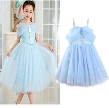 2017 boutique 3-8 years kids ball gown blue princess flower girls off-shoulder party dresses