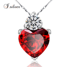 wholesale rhodium plated 925 Sterling Silver large heart red cz pendant P20023