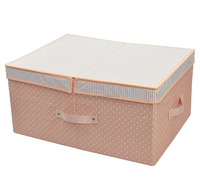 High Durable Cloth Closet Organizer Toy Storage Box with Removable Dividers, Folding and Cute Color for Girls (Pink)