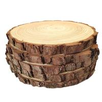 "Natural Wood Slices Round Pine Wood Slabs 5 Pack Round Rustic Woods Slices 9""-11"" Rustic Tree Bark Slice Weathered Log Disc"