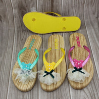 ladies fancy flat sandal girls footwear PVC strap and eva sole cute flip flops