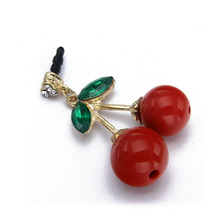 Metal Glod Plated earphone jack anti-dust plug in Cherry Design with Rhinestone