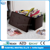 Rectangle foldable antique european style fabric ottoman bench stool home storage