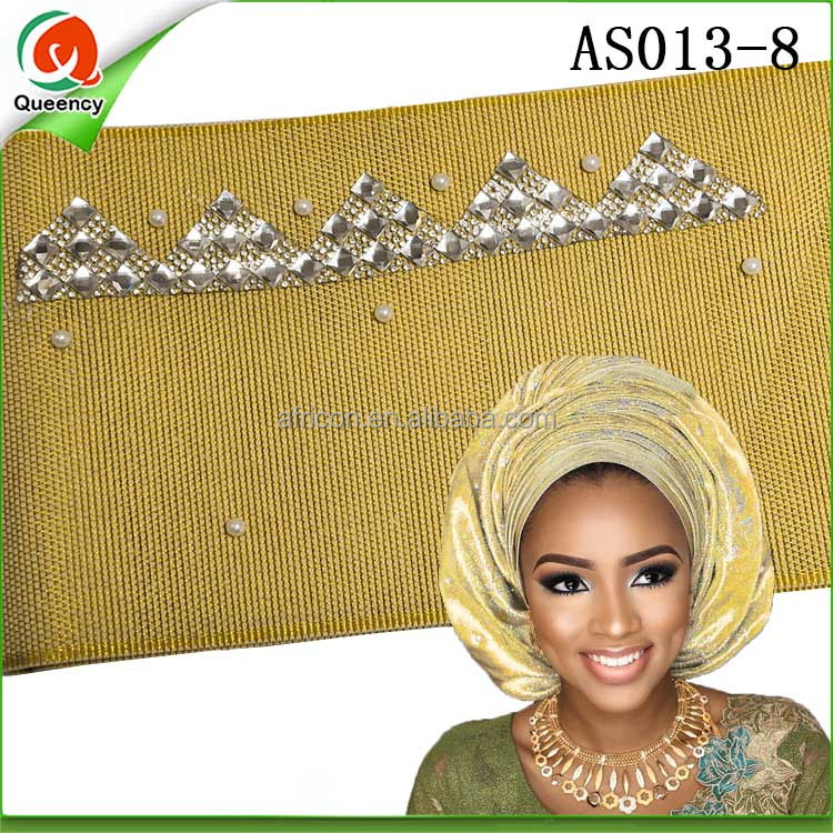 AS013 Queency Wholesale 2017 African Style Nigerian Gold Gele Hayes Headtie Aso Oke with beads