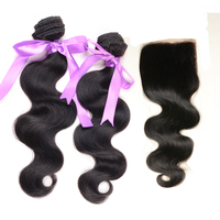 4Pcs Lot Virgin Malaysian Hair Body Wave Human Hair Bundles with Cheap Lace Closure Bleached Knots 3.5*4 DHL Free Shipping