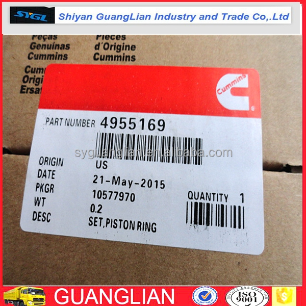 Genuine DCEC QSB L series Diesel Engine Piston Ring 4955169