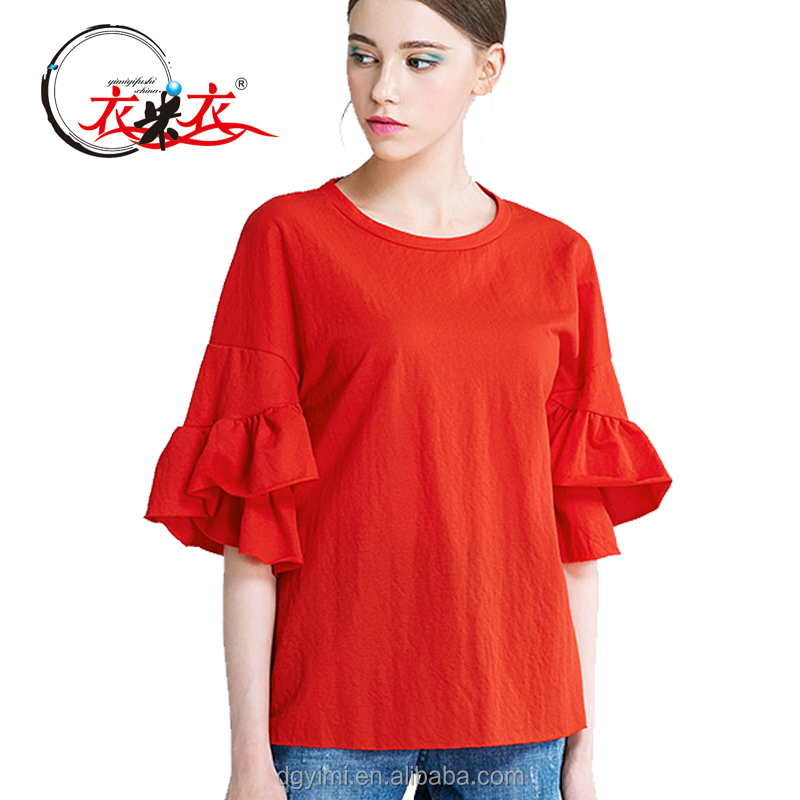 2017 new design red cotton and linen ladies breathable flouncing women blouse