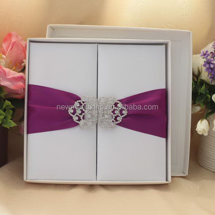 Top grade cheap new silk box wedding invitations