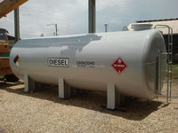 Double wall diesel fuel tank with leak detection device
