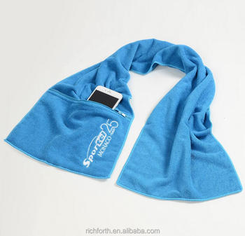 Best selling microfiber sports towel with zipper pocket and embroidery logo