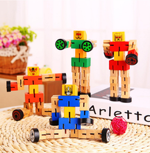 Colorful Wood Robot Manual Folding Building Blocks Car Children's Educational Toys Wood Deformation Robot