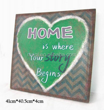 Decorative green heart linen plaque with stripe