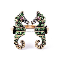 Beautiful green rhinestone ocean animal theme sea horse ring
