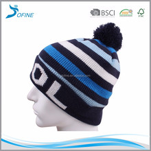 Hot selling cute warm acrylic kids toque children ski cuffed pom pom winter hat