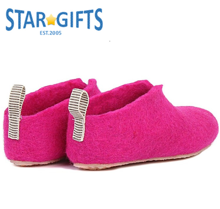 Very Soft Comfortable Pink Wool Felt Little Girls Kids Simple Cheap Slipper With Footbed