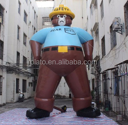 Best sale! 9m giant inflatable walking bear wear yellow hat with blower for advertising/decoration