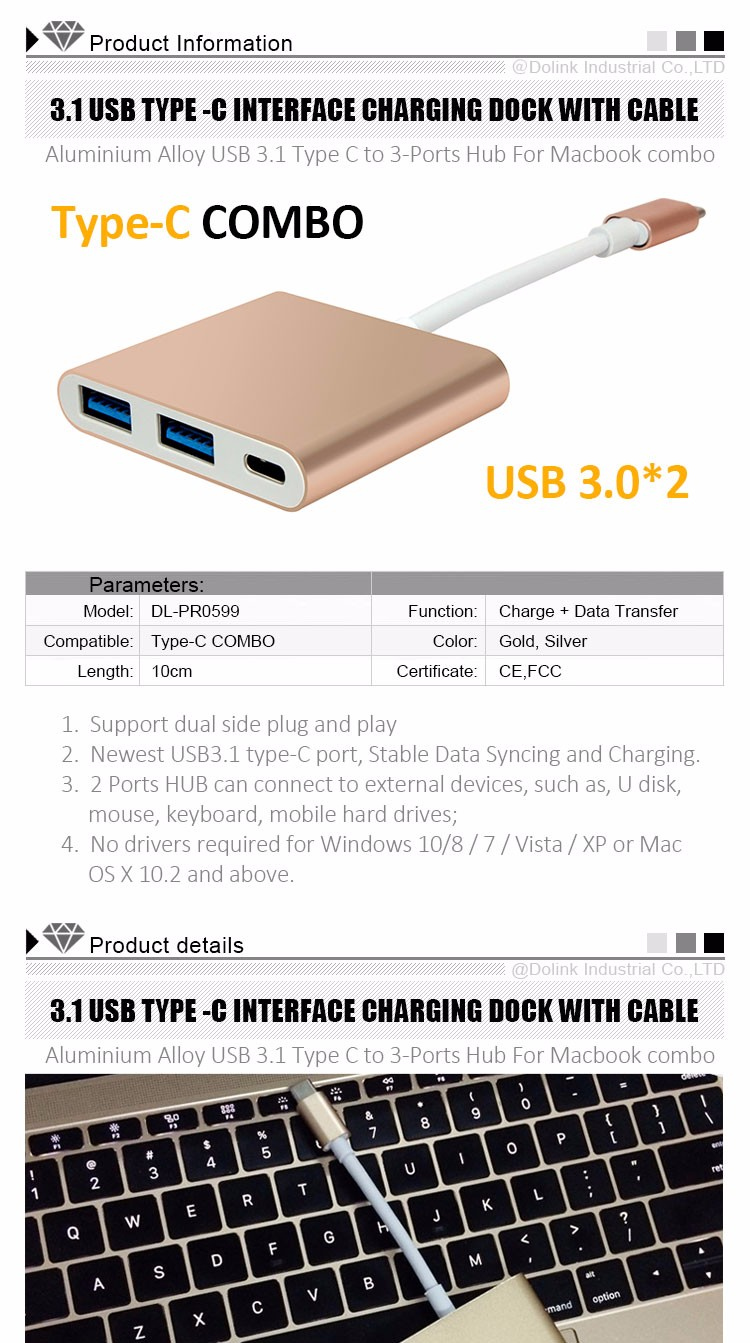 Wholesale High Speed Promotional micro usb 3.1 type-c charging dock With Data Cable For Mobile Computer,Phone,Tablet