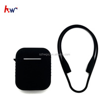 Protective Silicone Case for airpod+ Anti-slip Earhooks Cover + Silicone Neck Strap for airpod, Black