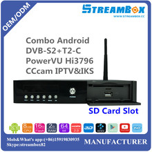 PowerVU Hi3796 4K IKS H.265 Combo Android DVB-S2+T2-C Card Sharing Satellite Receivers