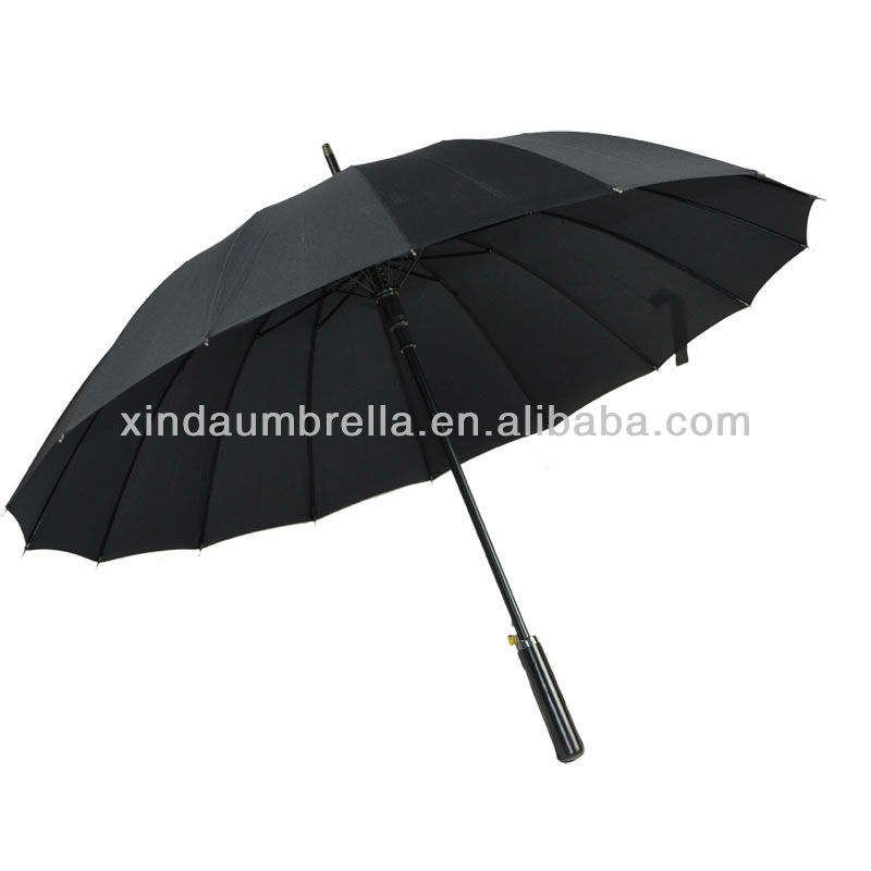 Classical Black Large Big Size Automatic Straight Golf 16 Ribs Strong Polyester Umbrella