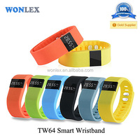 Wonlex high quality waterproof Smart bracelet with SMS, phone call, TW64 smart bluetooth bracelet