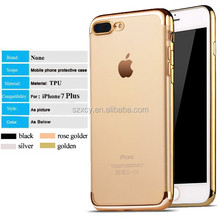 5.5 inch customized flexible soft TPU electroplating Gold bumper frame mobile phone case for iPhone 7 7 Plus