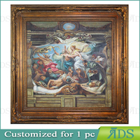 1 pc customized antique gold picture frame with oil painting