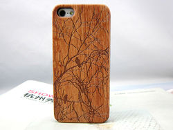 unique sapele Carving ultrathin PC Wood case for iphone5
