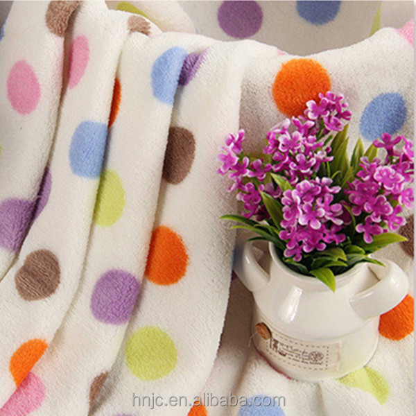 Polyester color spots coral fleece fabric for pajamas and cloth soft hand feel