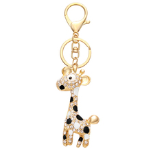 Alibaba Website 18K Gold Clear Rhinestone Metal Novelty Giraffe Keychain
